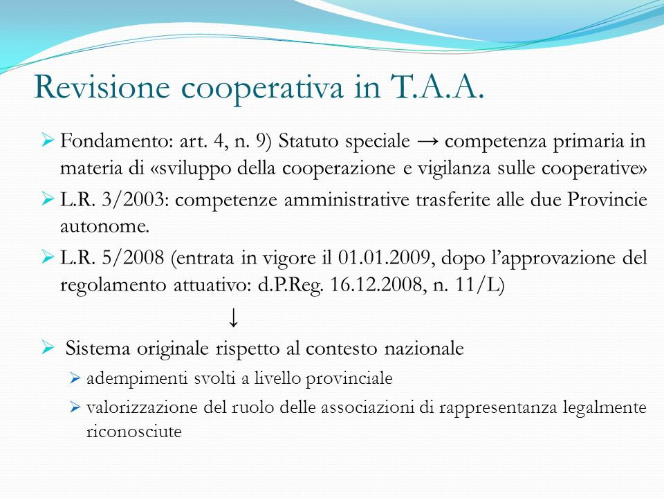 Revisione cooperativa in T.A.A.