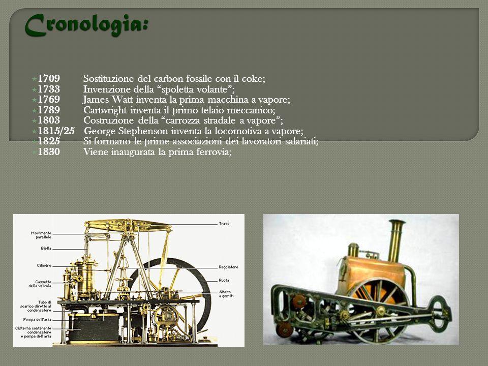Cronologia: 1709 Sostituzione del carbon fossile con il coke;