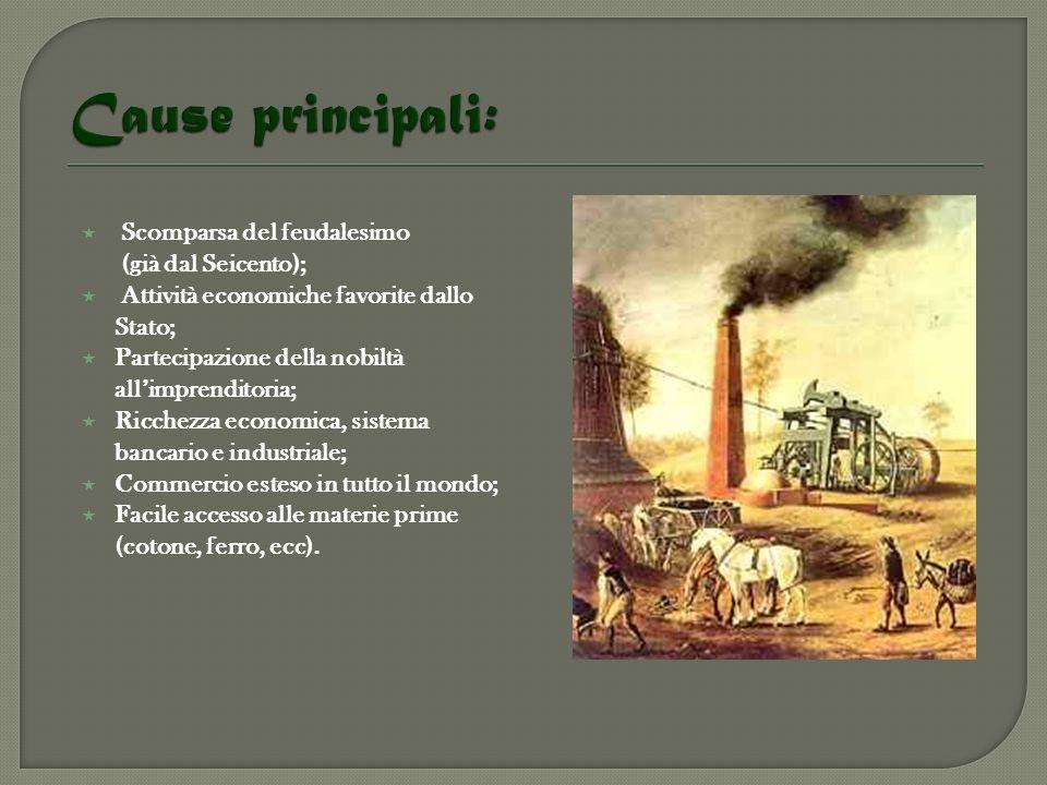 Cause principali: Scomparsa del feudalesimo (già dal Seicento);