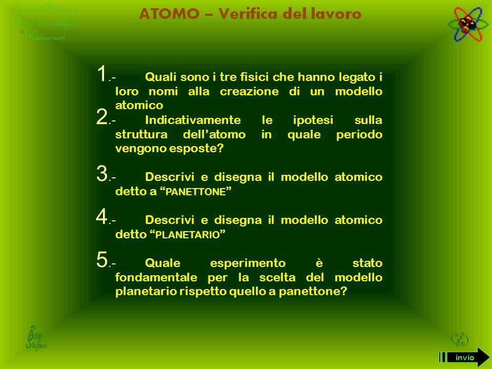 3.- Descrivi e disegna il modello atomico detto a panettone