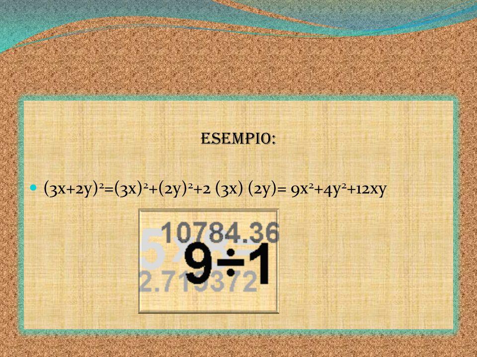 ESEMPIO: (3x+2y)2=(3x)2+(2y)2+2 (3x) (2y)= 9x2+4y2+12xy