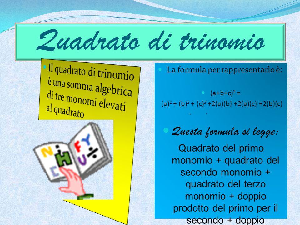 Quadrato di trinomio Questa formula si legge: