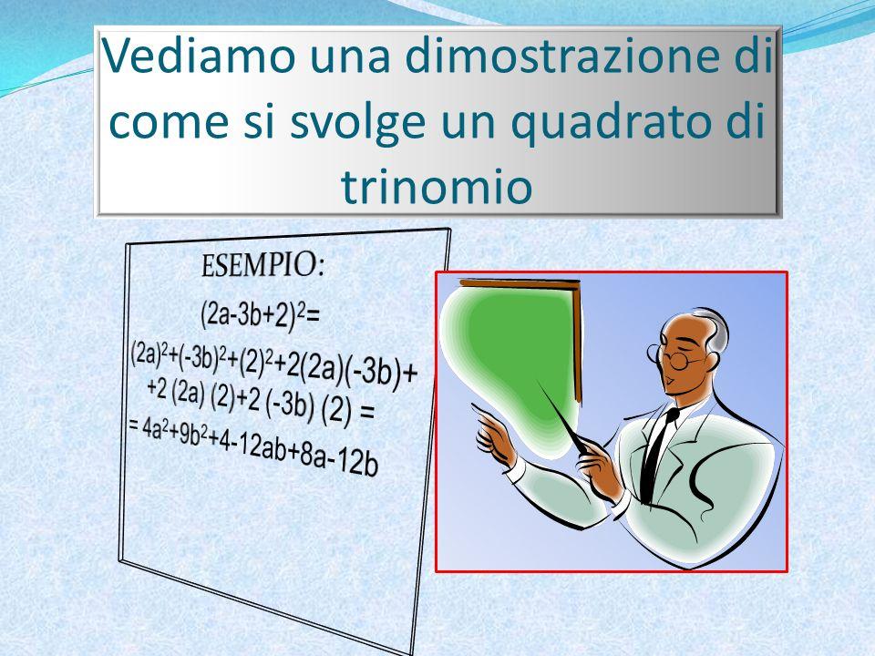 Vediamo una dimostrazione di come si svolge un quadrato di trinomio