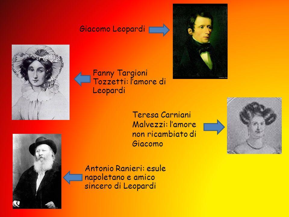 Giacomo Leopardi Fanny Targioni Tozzetti: l'amore di Leopardi. Teresa Carniani Malvezzi: l'amore non ricambiato di Giacomo.