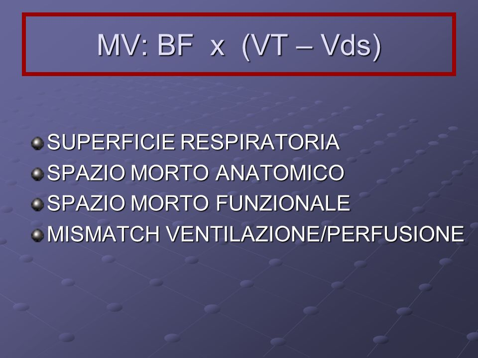 MV: BF x (VT – Vds) SUPERFICIE RESPIRATORIA SPAZIO MORTO ANATOMICO