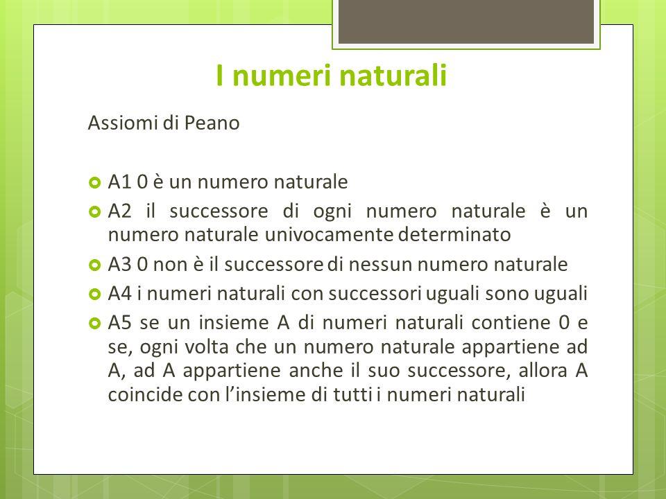 I numeri naturali Assiomi di Peano A1 0 è un numero naturale