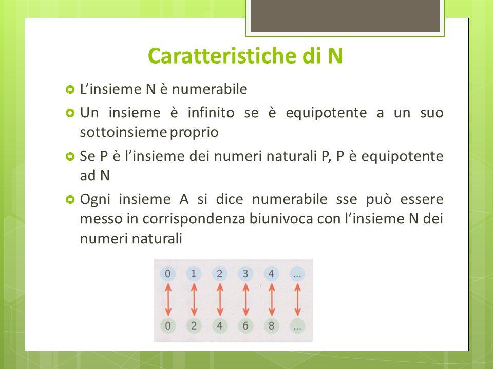 Caratteristiche di N L'insieme N è numerabile