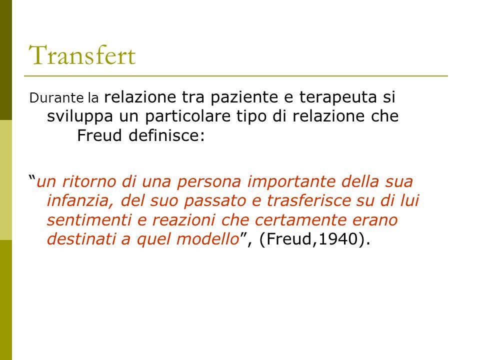 Transfert Durante la relazione tra paziente e terapeuta si sviluppa un particolare tipo di relazione che Freud definisce: