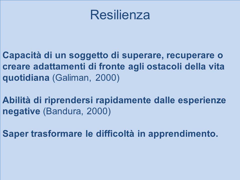 Capacità di un soggetto di superare, recuperare o creare adattamenti di fronte agli ostacoli della vita quotidiana (Galiman, 2000)