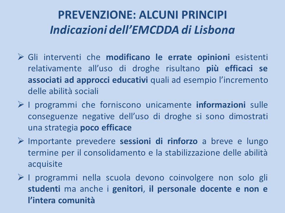 PREVENZIONE: ALCUNI PRINCIPI Indicazioni dell'EMCDDA di Lisbona