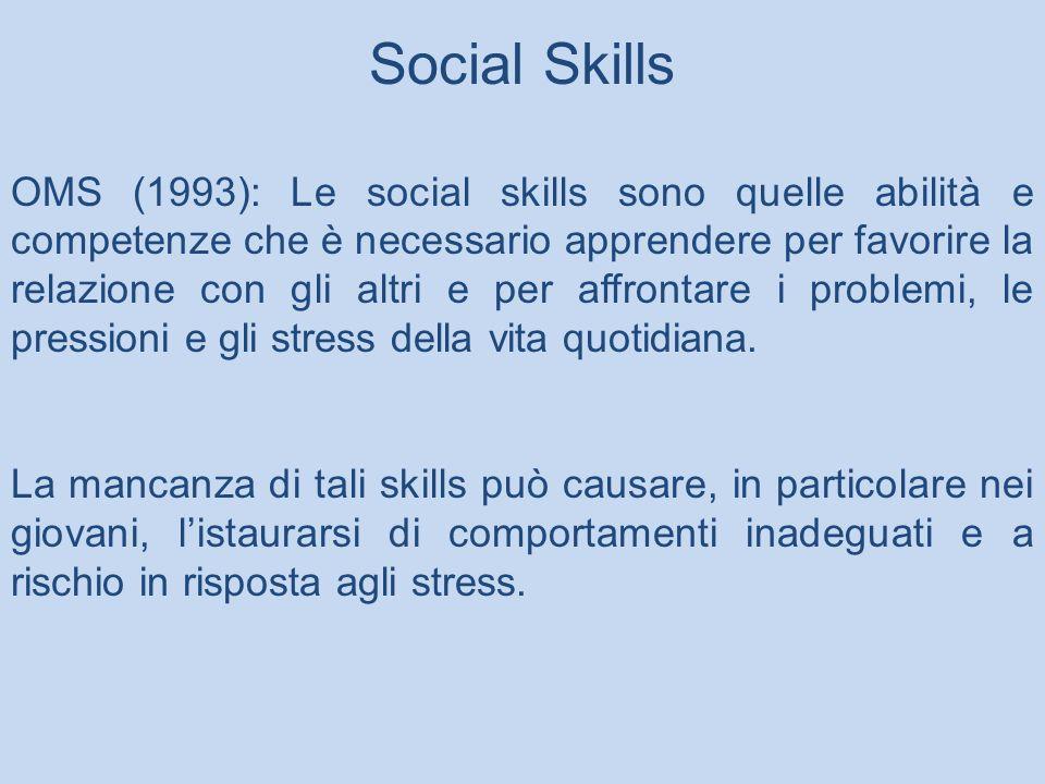 OMS (1993): Le social skills sono quelle abilità e competenze che è necessario apprendere per favorire la relazione con gli altri e per affrontare i problemi, le pressioni e gli stress della vita quotidiana.