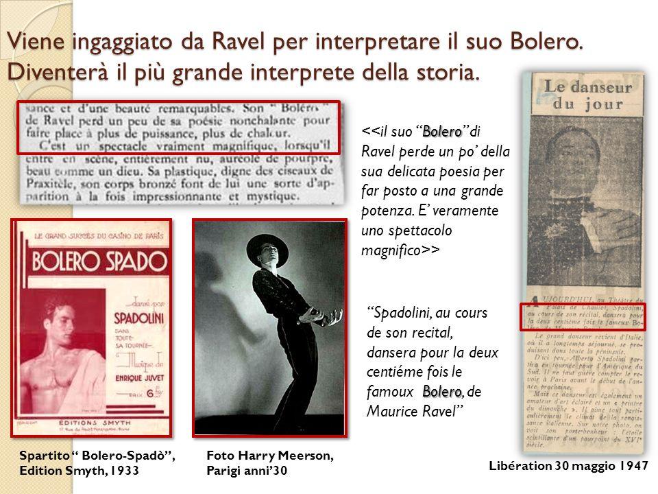Viene ingaggiato da Ravel per interpretare il suo Bolero