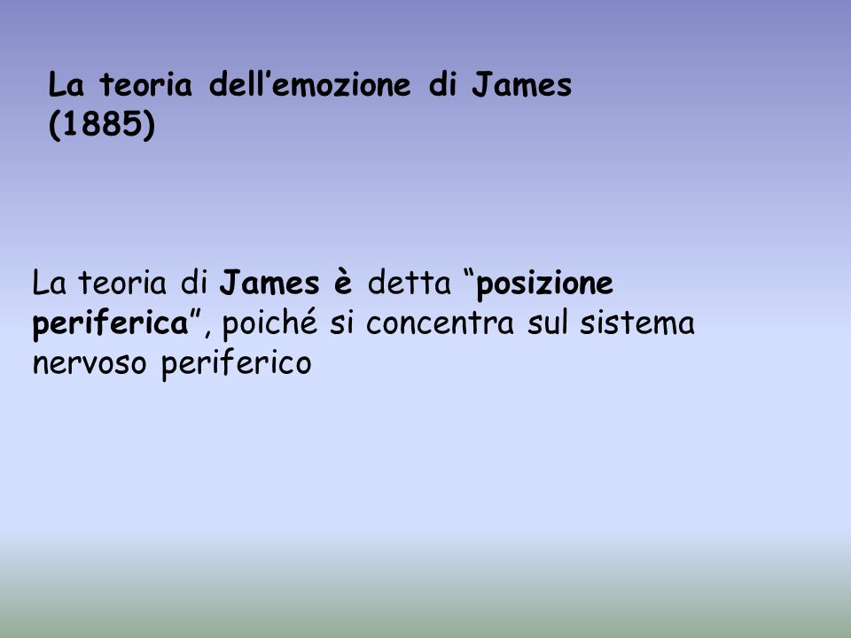 La teoria dell'emozione di James (1885)
