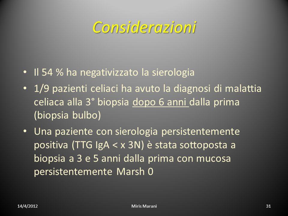 Considerazioni Il 54 % ha negativizzato la sierologia