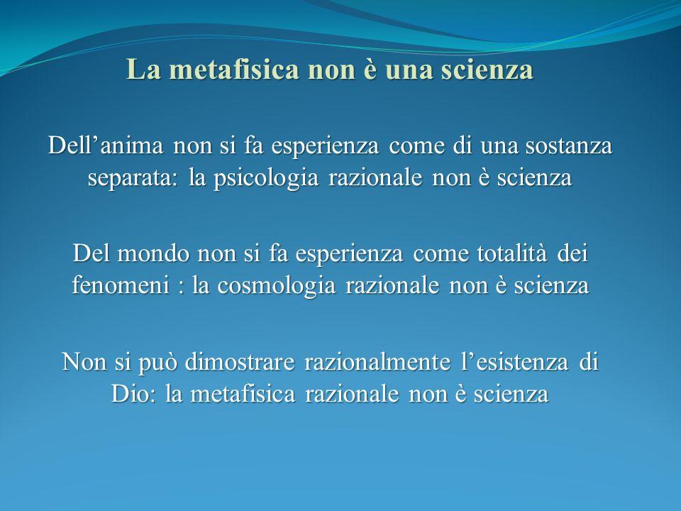 La metafisica non è una scienza