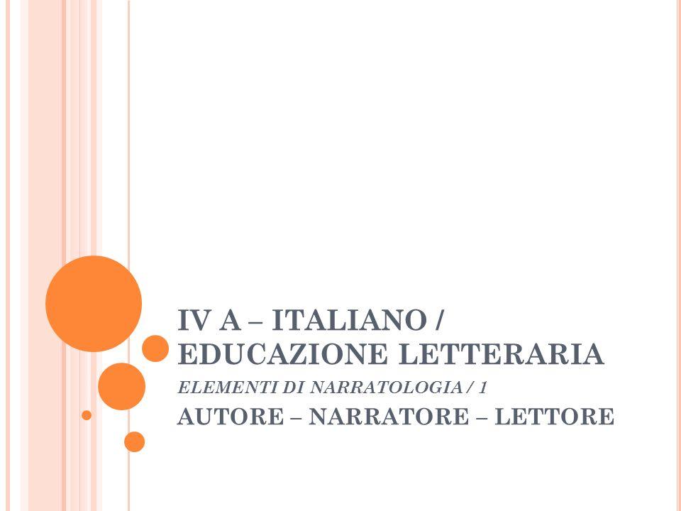 IV A – ITALIANO / EDUCAZIONE LETTERARIA