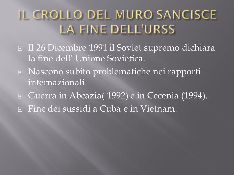 IL CROLLO DEL MURO SANCISCE LA FINE DELL'URSS