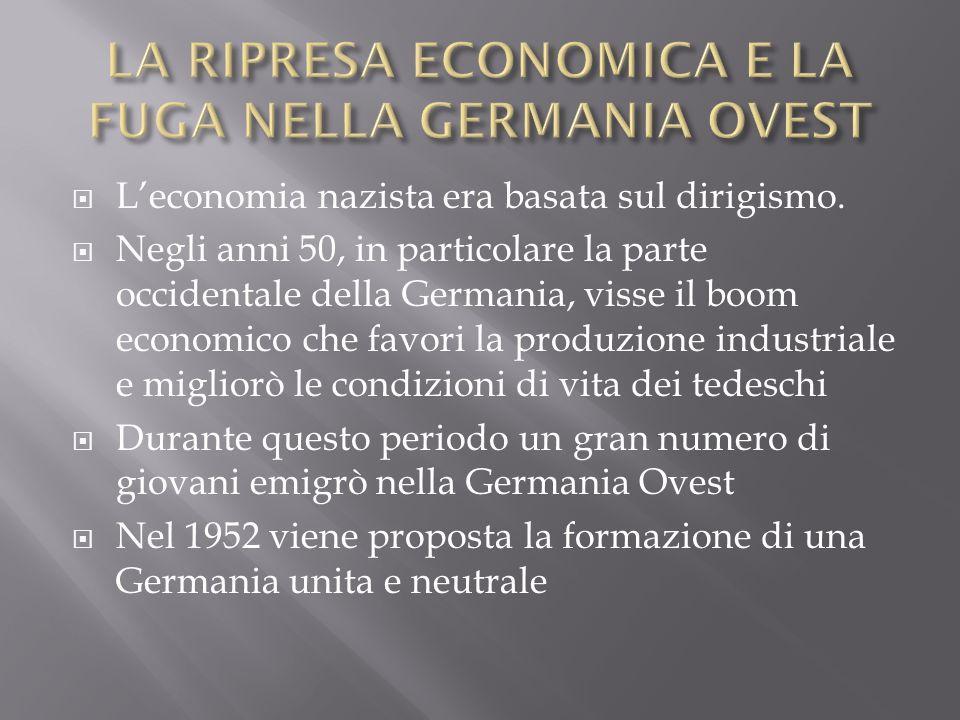 LA RIPRESA ECONOMICA E LA FUGA NELLA GERMANIA OVEST