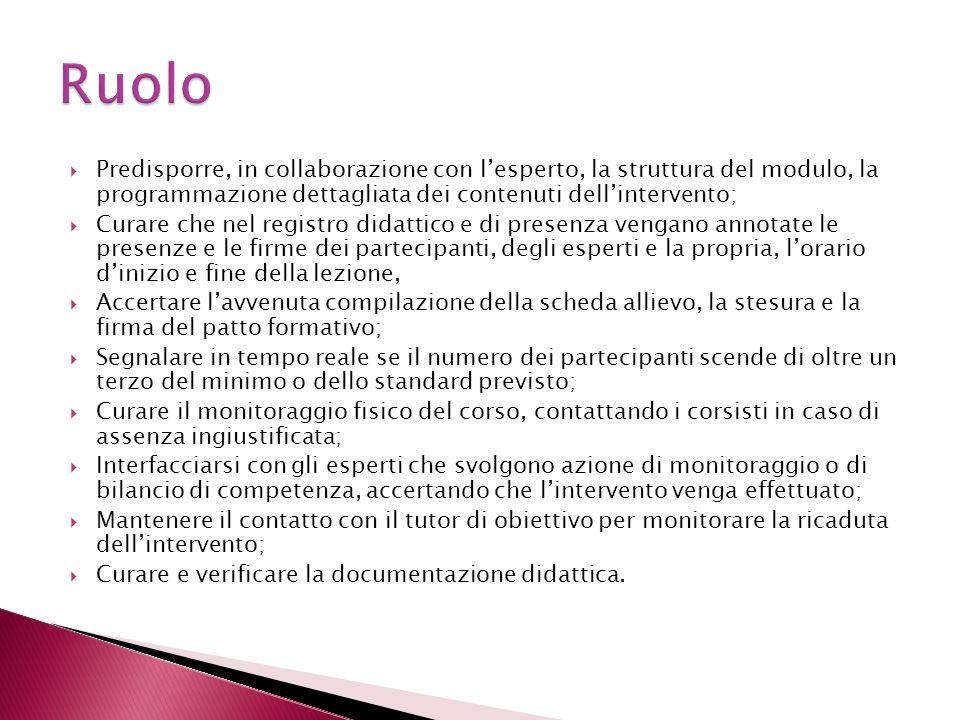 RuoloPredisporre, in collaborazione con l'esperto, la struttura del modulo, la programmazione dettagliata dei contenuti dell'intervento;