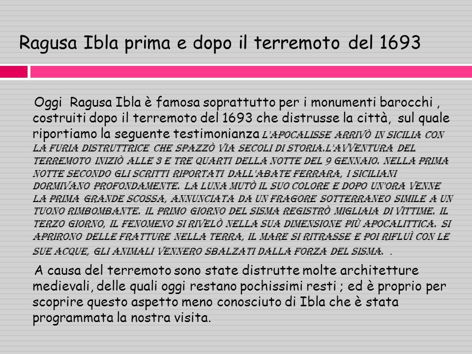 Ragusa Ibla prima e dopo il terremoto del 1693