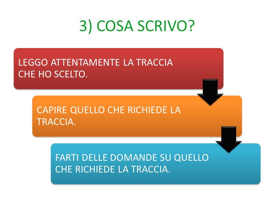3) COSA SCRIVO LEGGO ATTENTAMENTE LA TRACCIA CHE HO SCELTO.