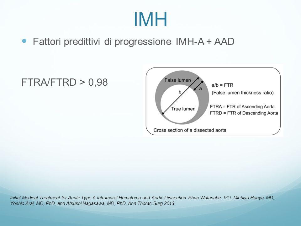 IMH Fattori predittivi di progressione IMH-A + AAD FTRA/FTRD > 0,98