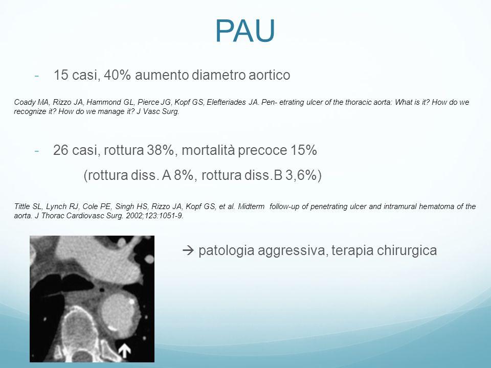 PAU 15 casi, 40% aumento diametro aortico