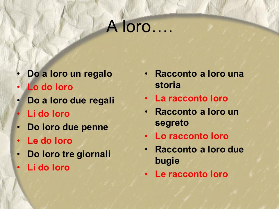 A loro…. Do a loro un regalo Lo do loro Do a loro due regali