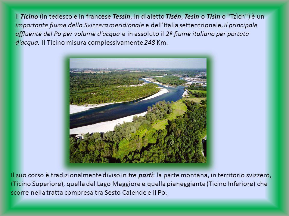 ll Ticino (in tedesco e in francese Tessin, in dialetto Tisén, Tesìn o Tisìn o Tzìch ) è un importante fiume della Svizzera meridionale e dell Italia settentrionale, il principale affluente del Po per volume d acqua e in assoluto il 2º fiume italiano per portata d acqua. Il Ticino misura complessivamente 248 Km.