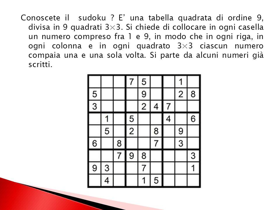 Conoscete il sudoku . E' una tabella quadrata di ordine 9, divisa in 9 quadrati 3×3.