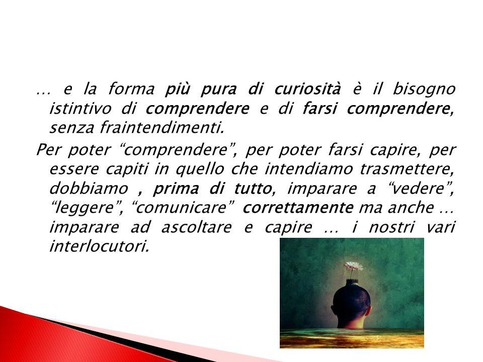 … e la forma più pura di curiosità è il bisogno istintivo di comprendere e di farsi comprendere, senza fraintendimenti.
