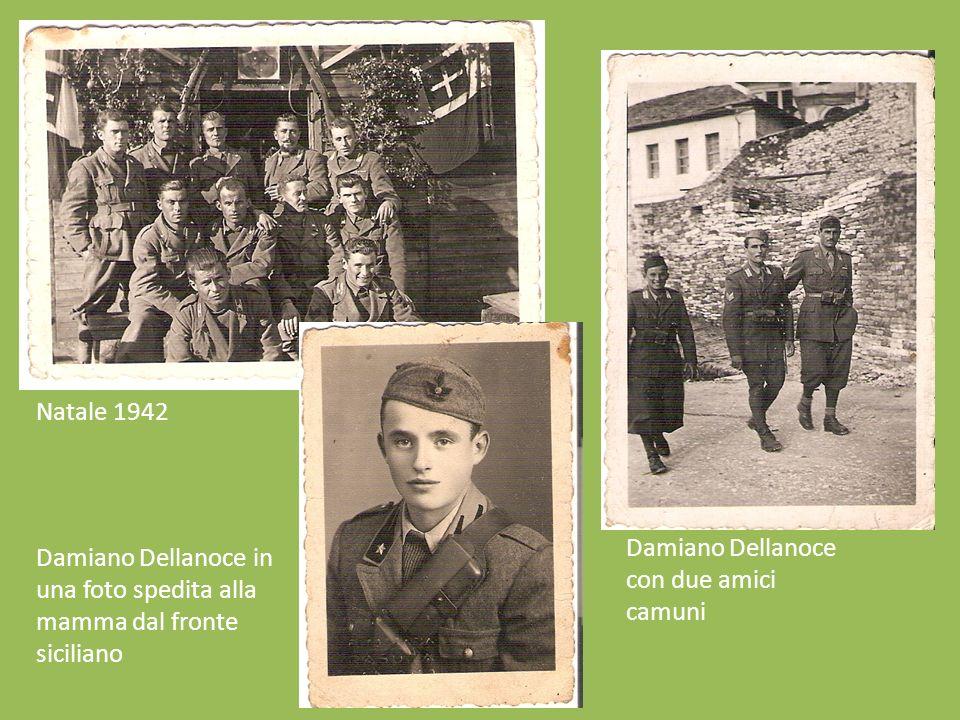 Natale 1942 Damiano Dellanoce con due amici camuni.