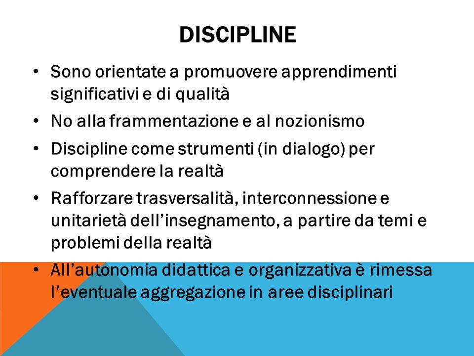 DISCIPLINE Sono orientate a promuovere apprendimenti significativi e di qualità. No alla frammentazione e al nozionismo.