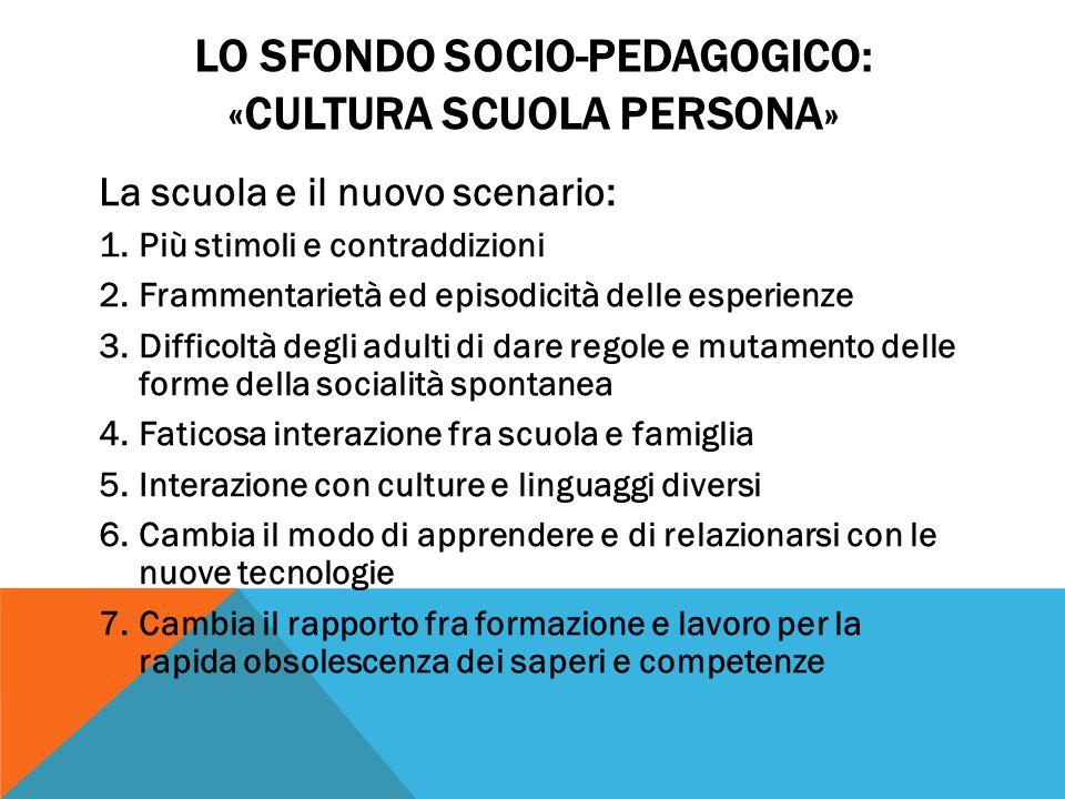 Lo sFondo socio-pedagogico: «cultura scuola persona»