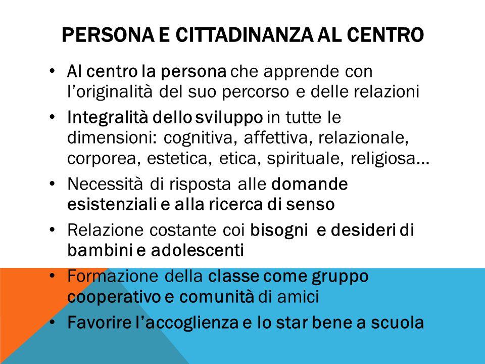 Persona e cittadinanza al centro