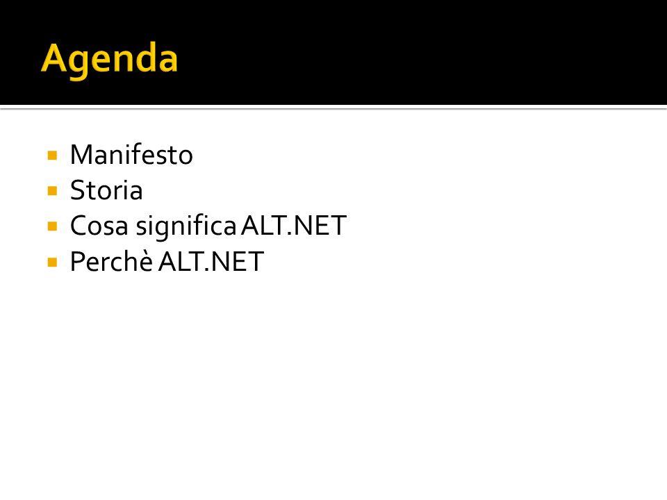 Agenda Manifesto Storia Cosa significa ALT.NET Perchè ALT.NET