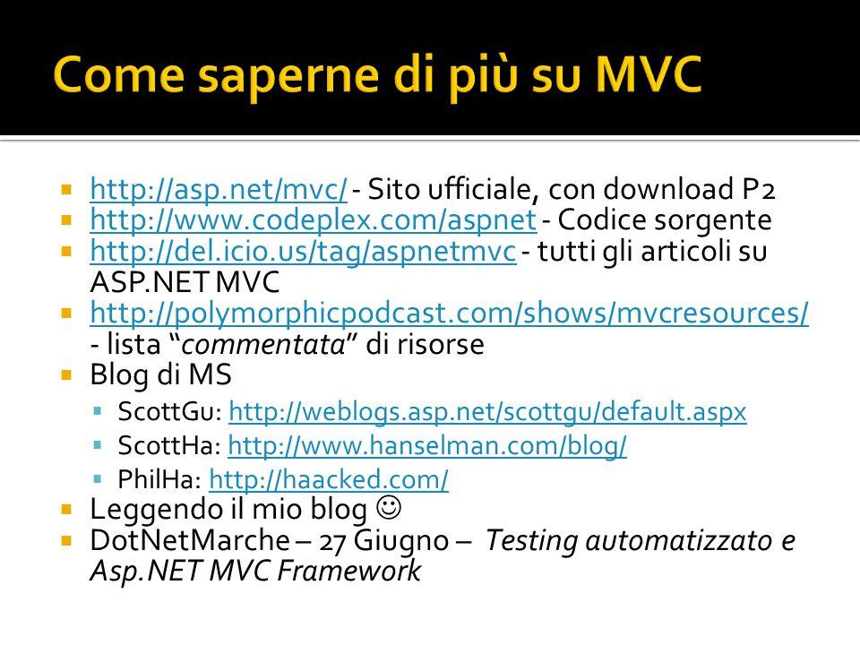 Come saperne di più su MVC