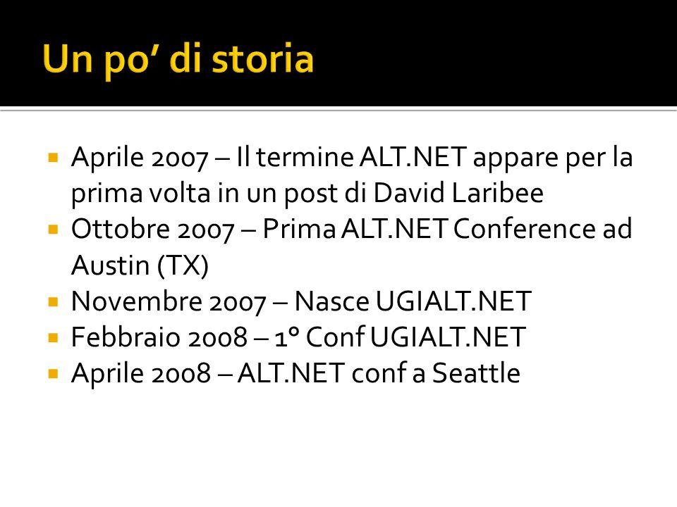 Un po' di storia Aprile 2007 – Il termine ALT.NET appare per la prima volta in un post di David Laribee.