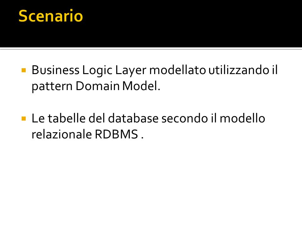 Scenario Business Logic Layer modellato utilizzando il pattern Domain Model.