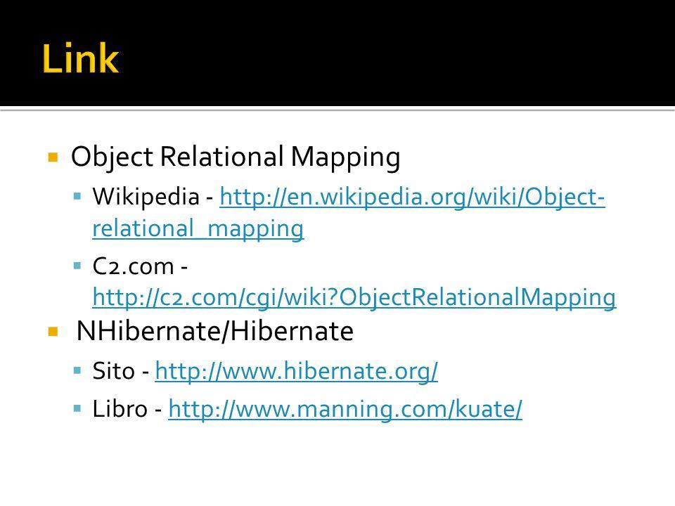 Link Object Relational Mapping NHibernate/Hibernate