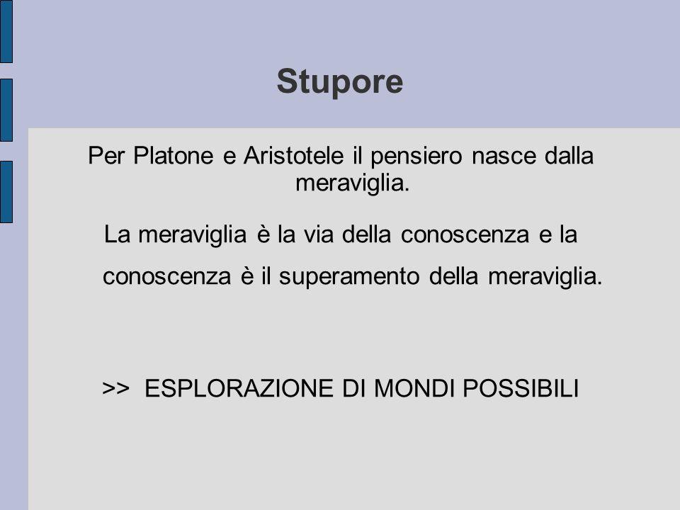 Stupore Per Platone e Aristotele il pensiero nasce dalla meraviglia.