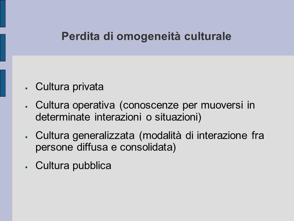 Perdita di omogeneità culturale