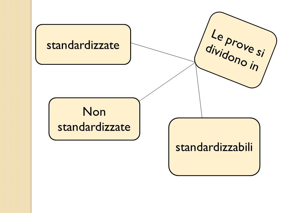 Le prove si dividono in standardizzate Non standardizzate standardizzabili