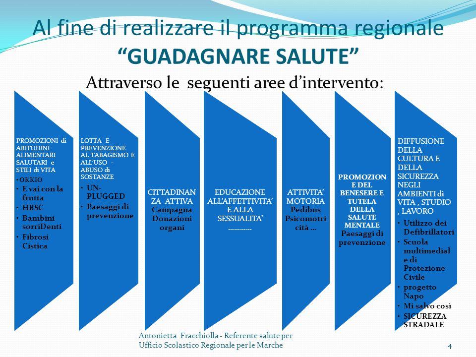 Al fine di realizzare il programma regionale GUADAGNARE SALUTE