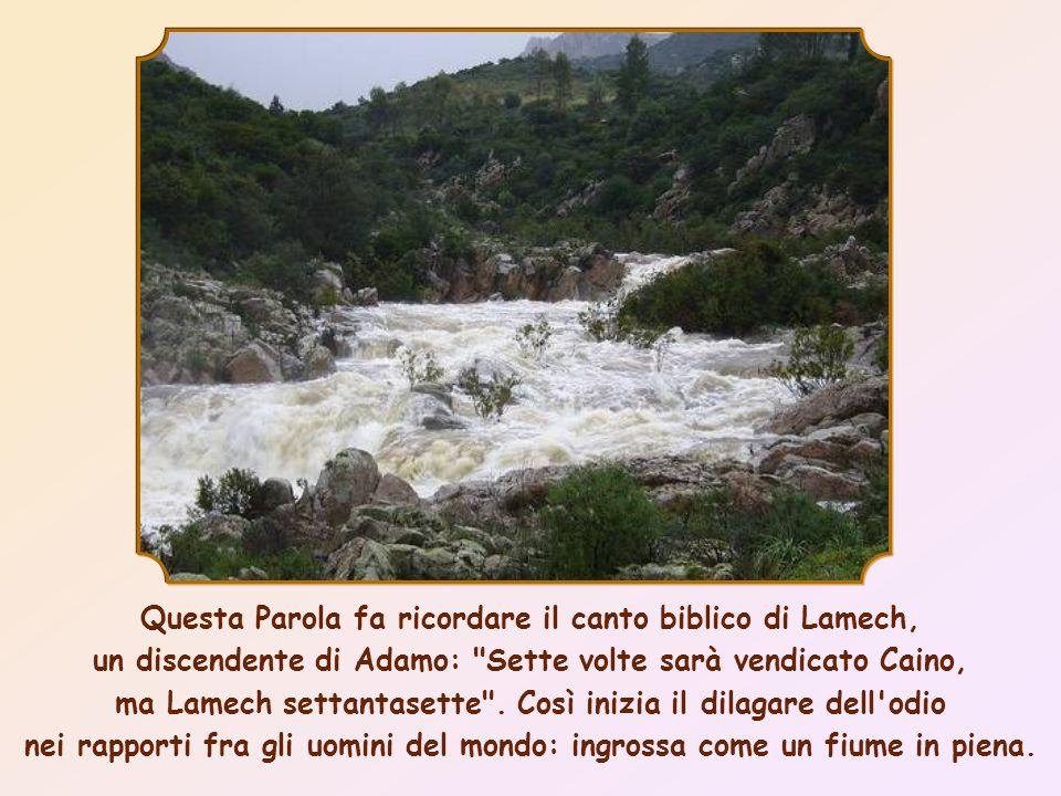 Questa Parola fa ricordare il canto biblico di Lamech, un discendente di Adamo: Sette volte sarà vendicato Caino, ma Lamech settantasette .