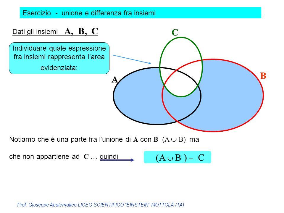 C B A (A  B ) – C Esercizio - unione e differenza fra insiemi
