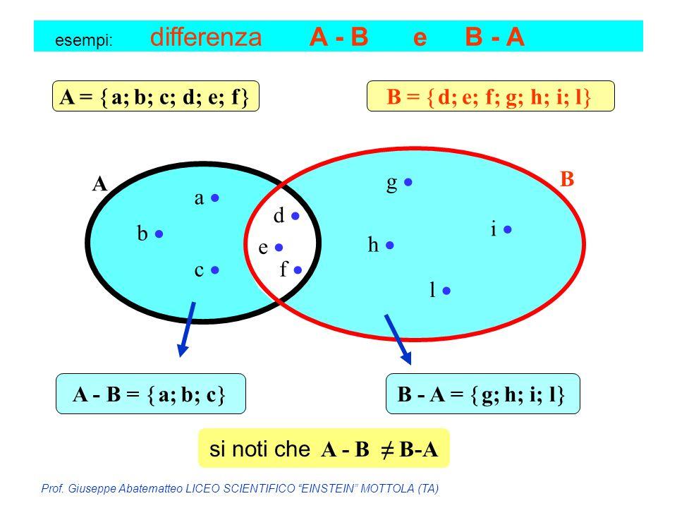 A = a; b; c; d; e; f B = d; e; f; g; h; i; l A B g  a  d  i 