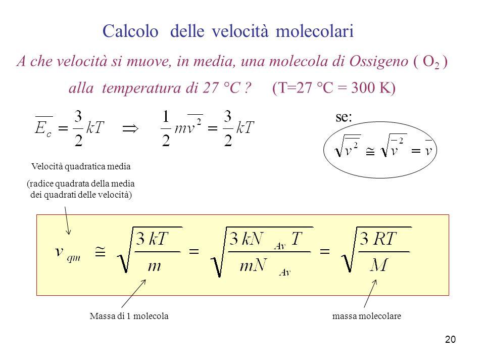 Calcolo delle velocità molecolari