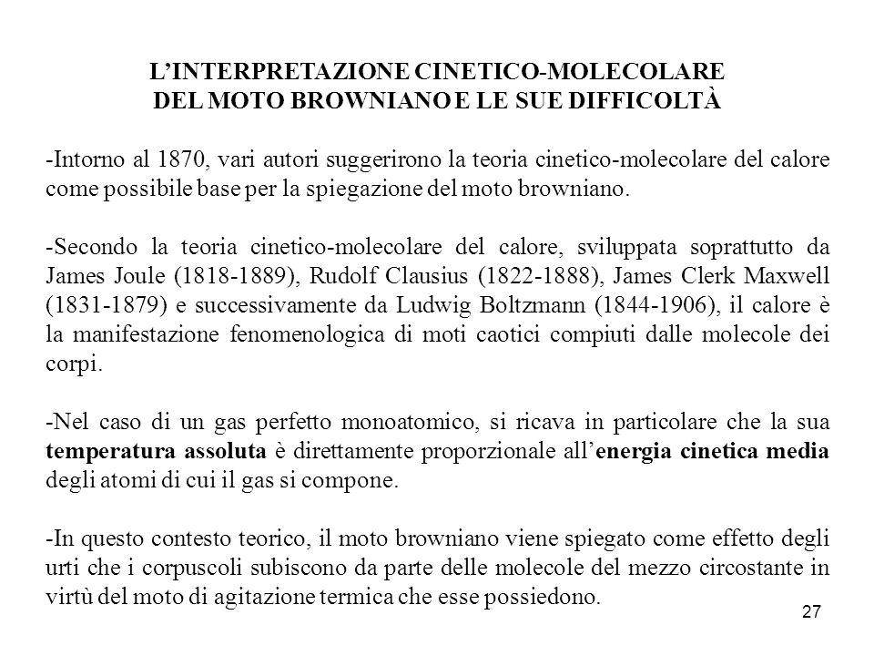 L'INTERPRETAZIONE CINETICO-MOLECOLARE