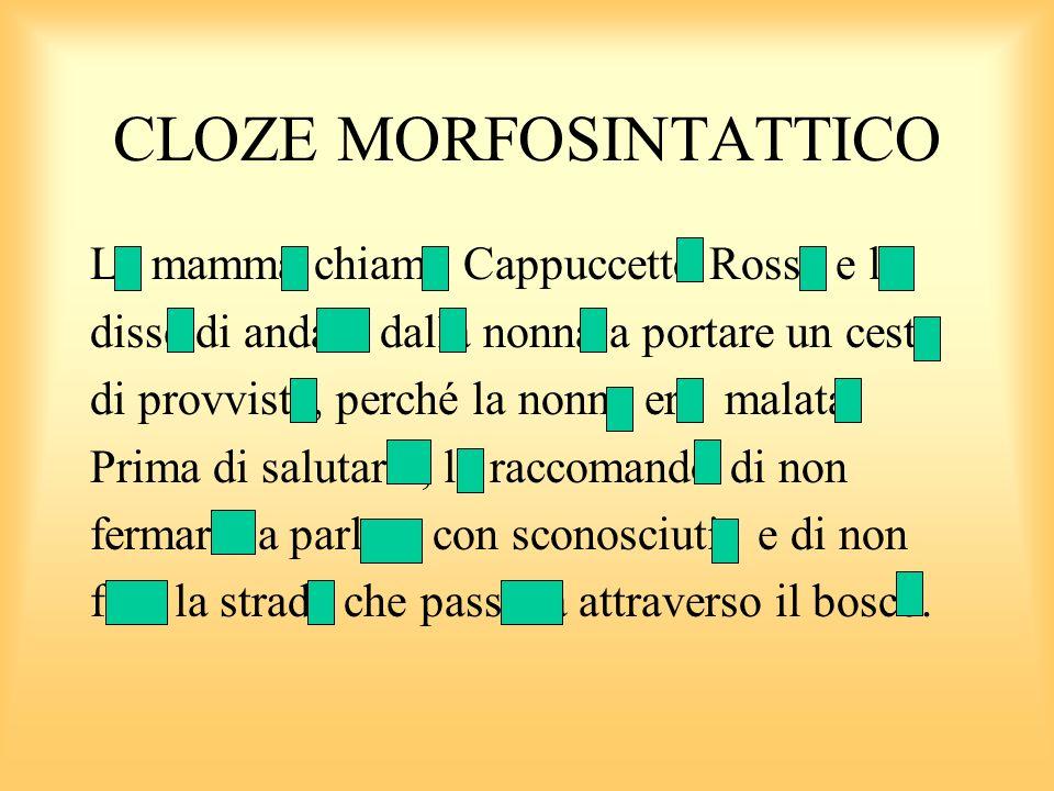CLOZE MORFOSINTATTICO